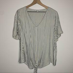 madewell | striped tie front top